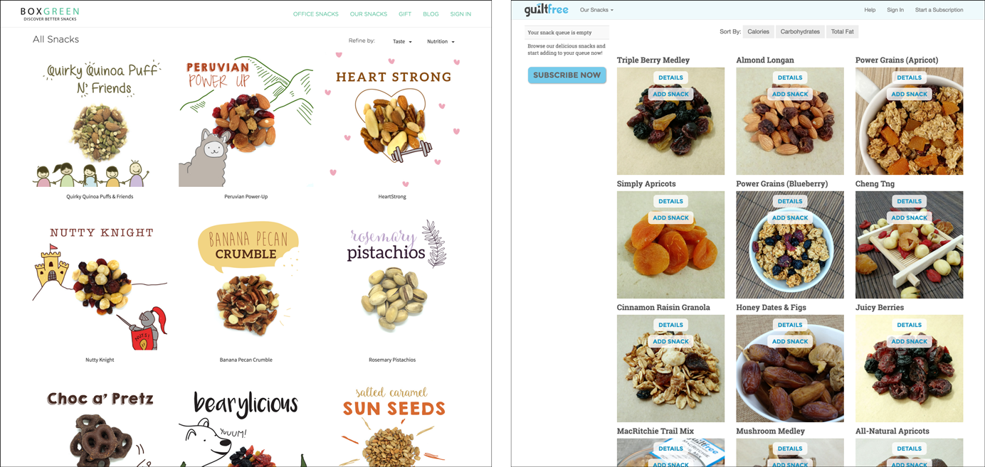 Screenshot of 2 snack-delivery websites with different imagery designs.