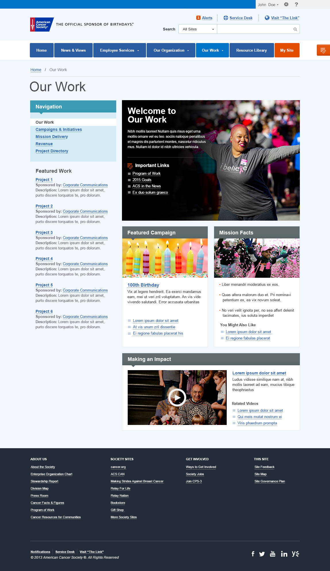 fat footers - Intranet Design Ideas