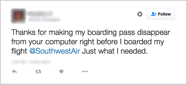 "Twitter截图,""谢谢你让我的登机牌在我登上西南航空公司的航班之前就从你的电脑上消失,这正是我所需要的。"""