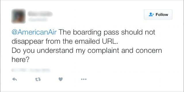 "Twitter截图,'@americanair登机证不应从电子邮件的URL中消失。你明白我的抱怨和担心吗?"""