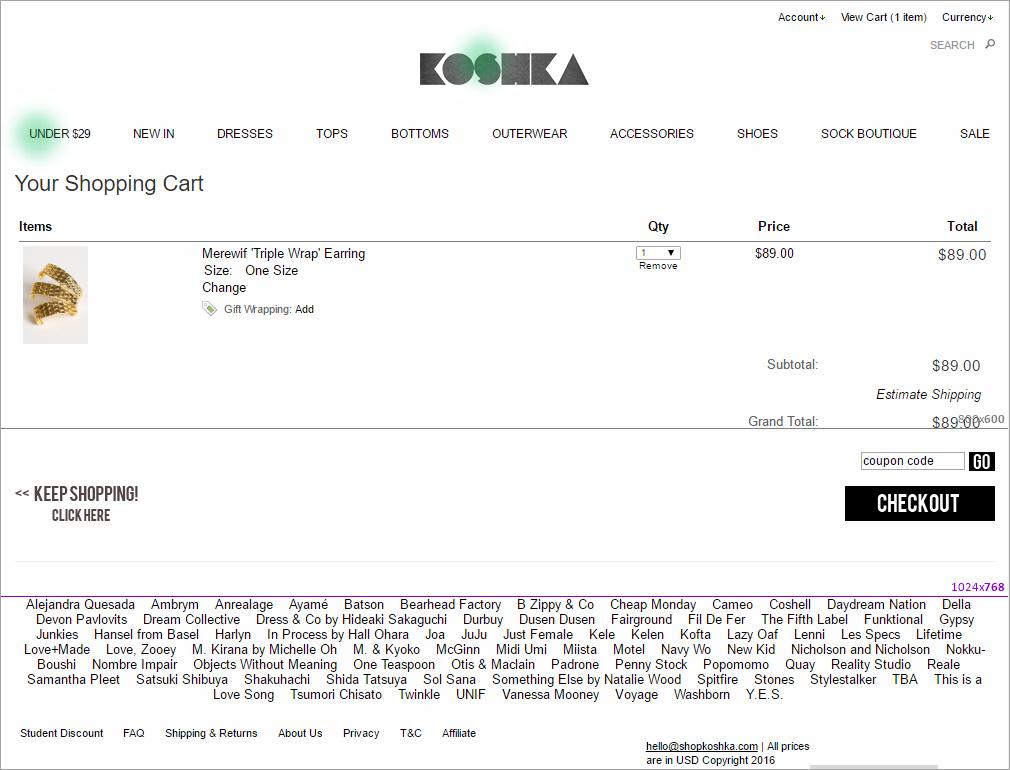 单击koshka.com的地图,显示用户试图导航到主页时单击的位置。