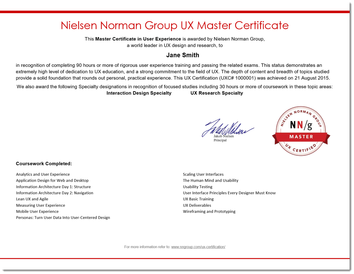 Benefits of ux certification nielsen norman group example ux master certificate xflitez Gallery