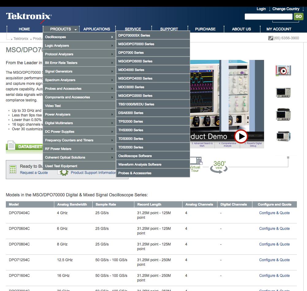 新加坡本地化的Tektronix网站