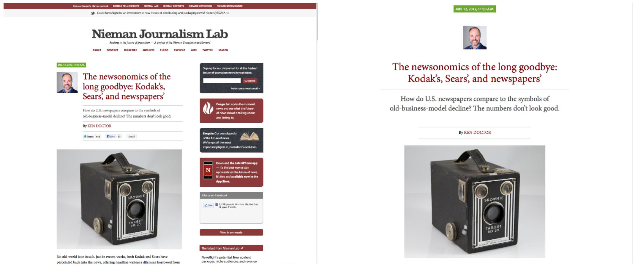 """Nieman新闻实验室网站的2015版在右侧边栏中提供了""""禅宗模式""""视图选项。此选项隐藏了导航栏和右侧轨道,为了强调内容。"""
