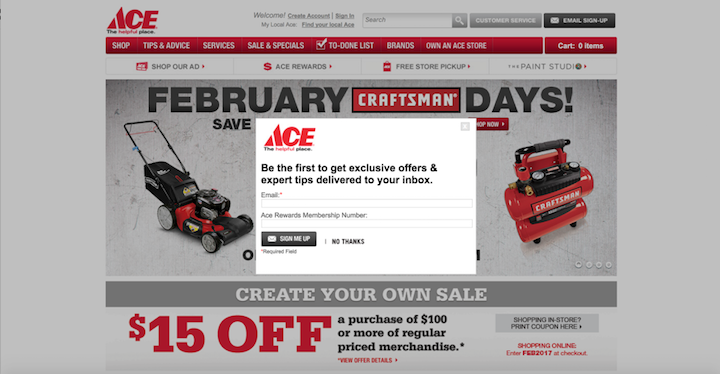 Ace Hardware Newsletter Signup