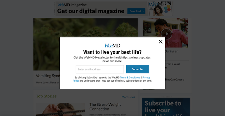 Web MD Newsletter Modal