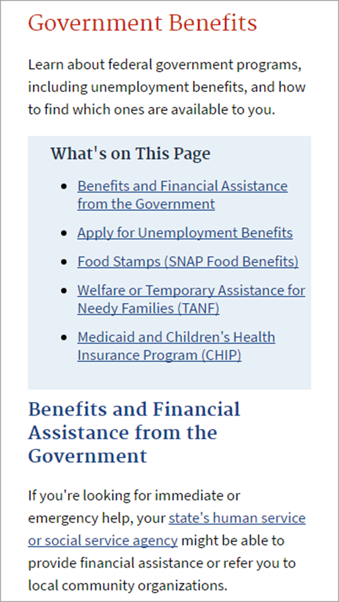 The Links At The Top Of This Usa Page Clearly Identify The Content The  Page Contains