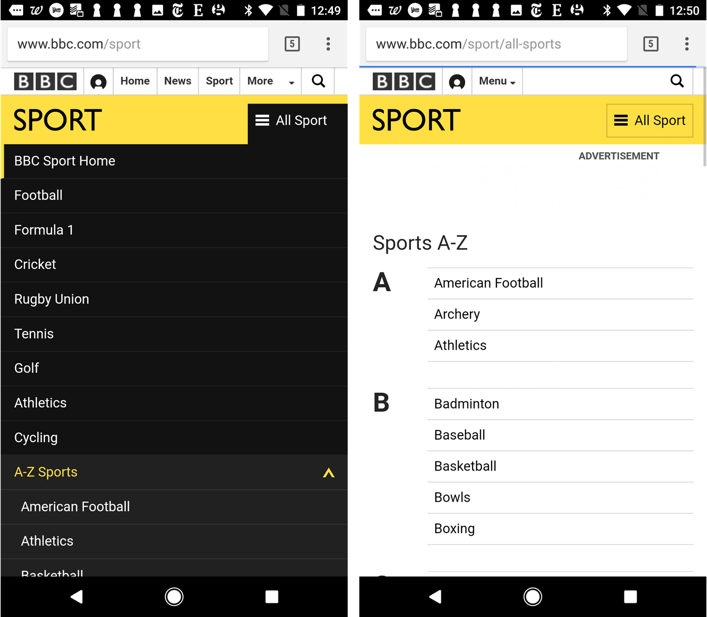 Dont use split buttons for navigation menus bbc sport tapping on the menu icon sometimes exposes the menu and sometimes takes users to the sports az page sciox Images