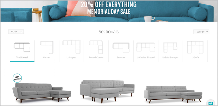 Joybird sectional visuals