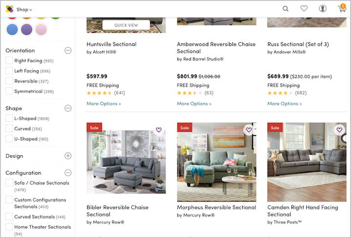 Wayfair product grid