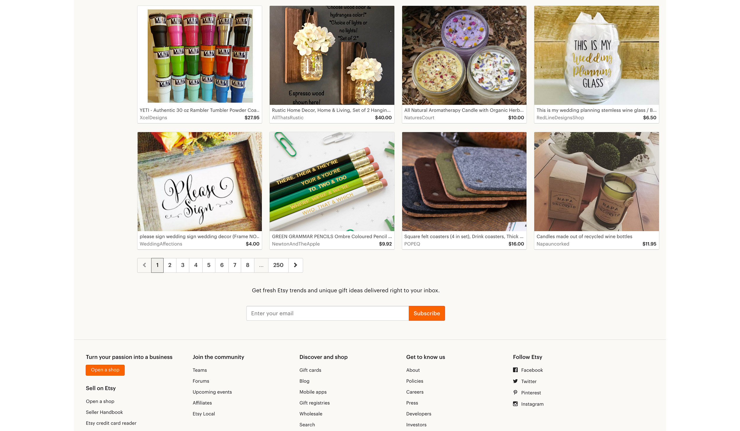 Etsy Rather Than Using Back To Top This Website Offers Links In And Near The Footer Support User Journey