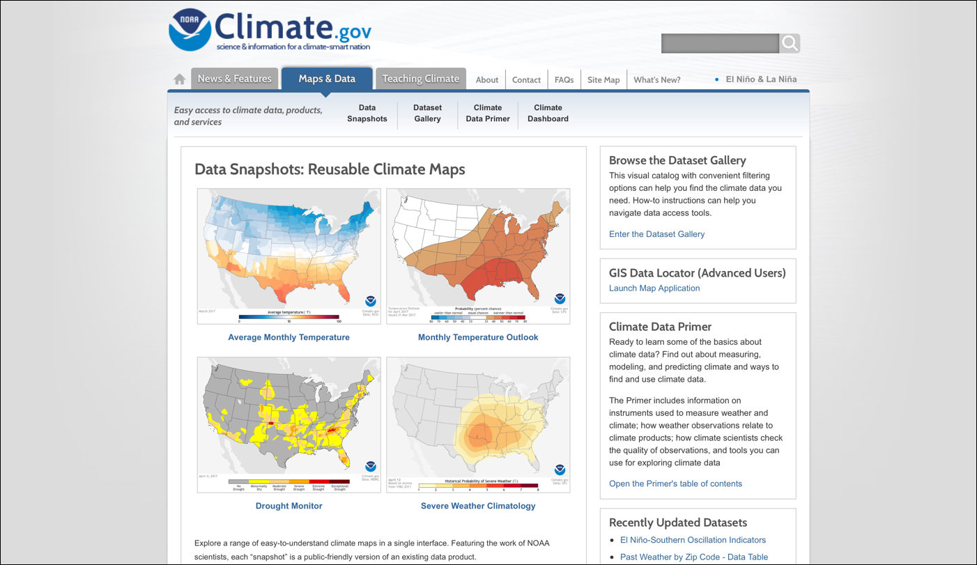 climate.gov的简单manbetx官方网站手机版视觉设计