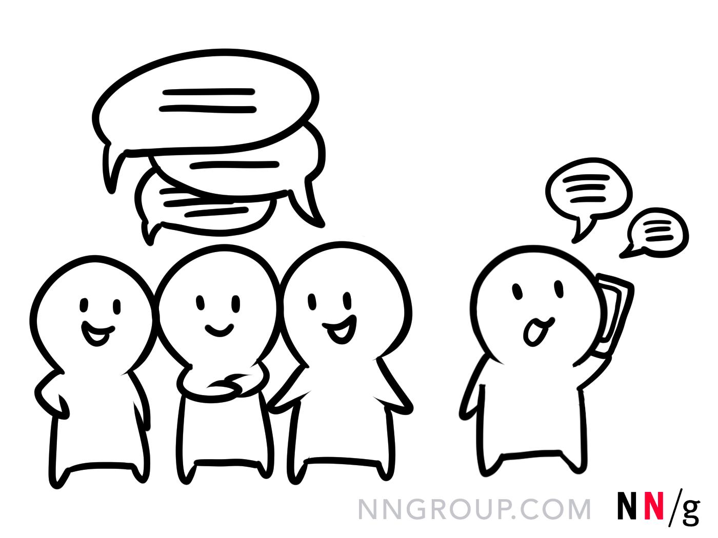 一个队友在电话上交谈,而其他人则在讨论想法。