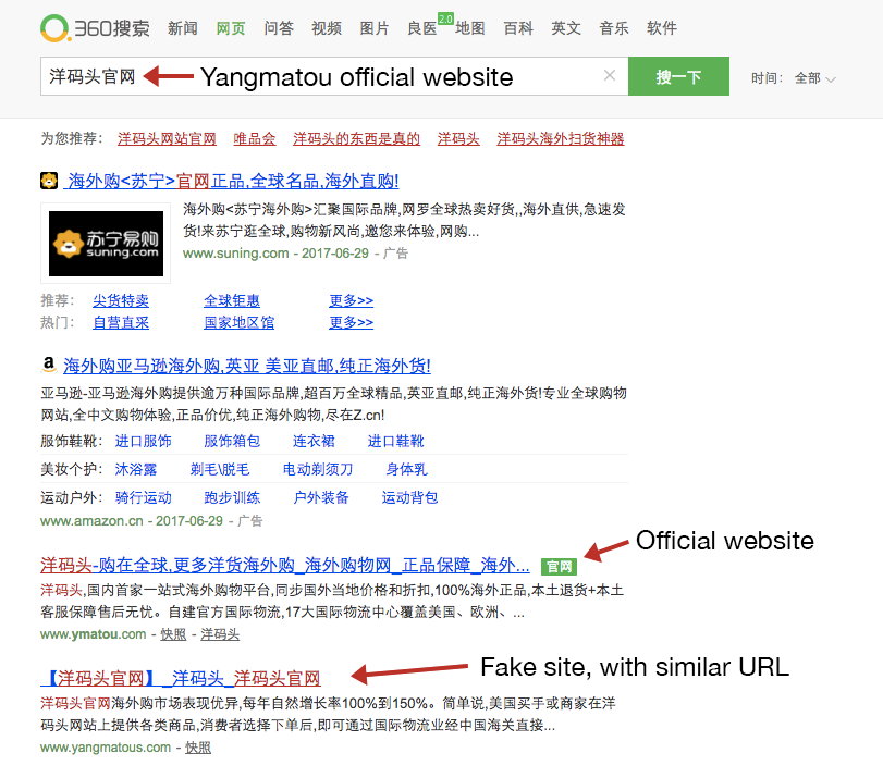 SERP from Qihoo 360 showing Official Website visual indicator