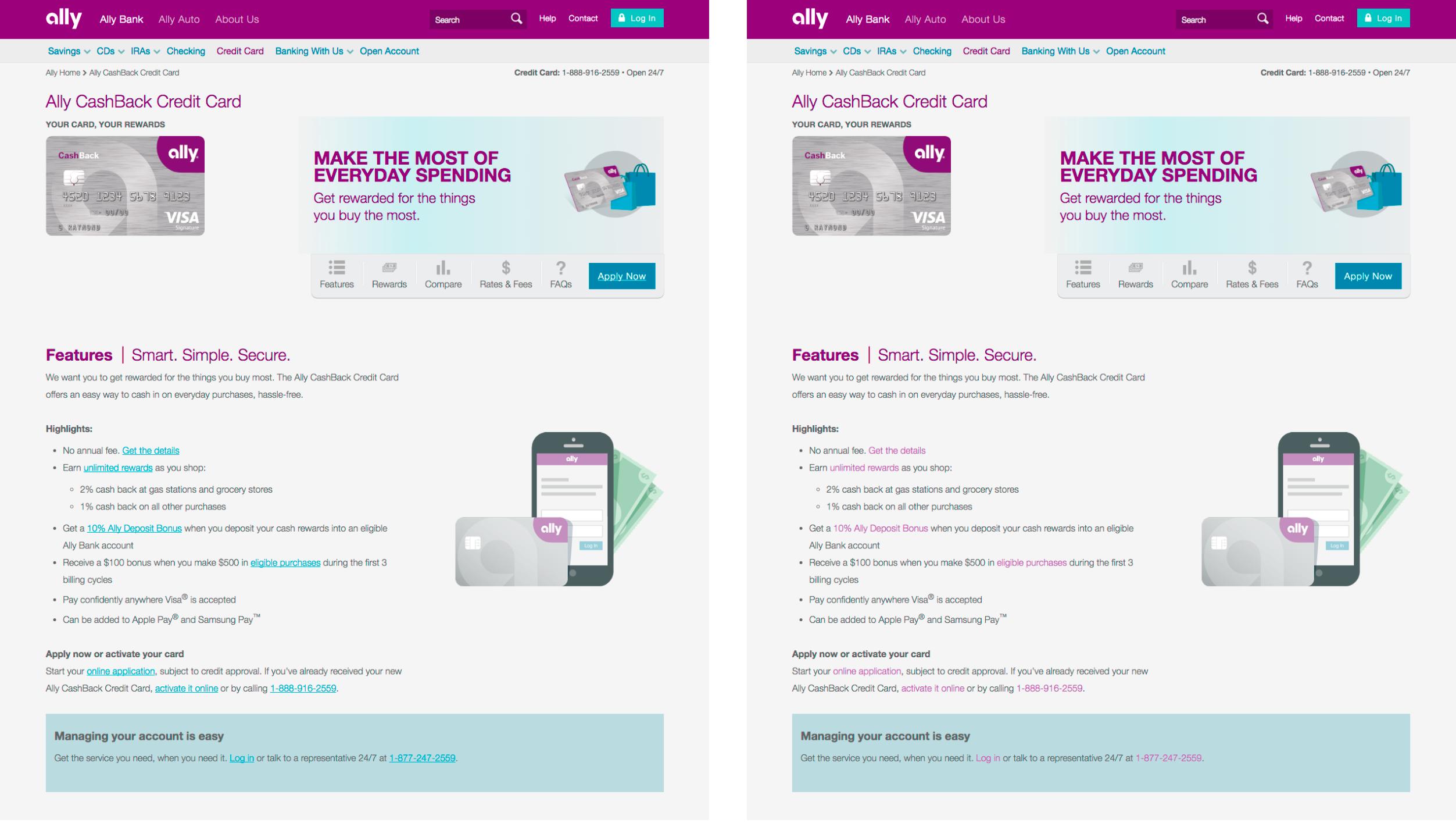 两个Ally Bank页面版本的并排比较