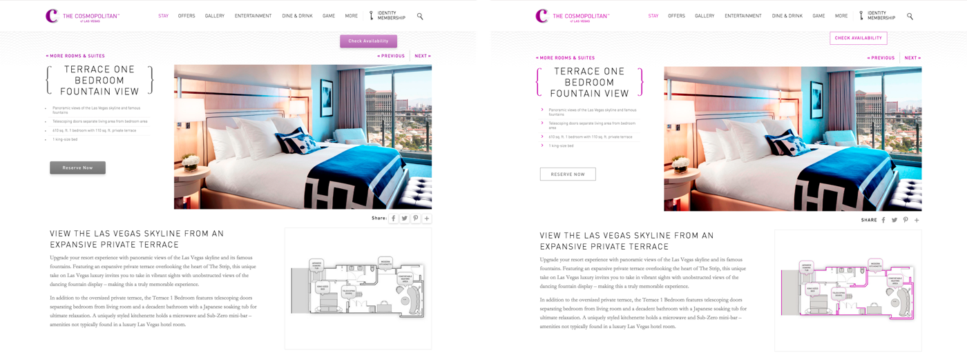 Side-by-side comparison of two versions of a hotel web page