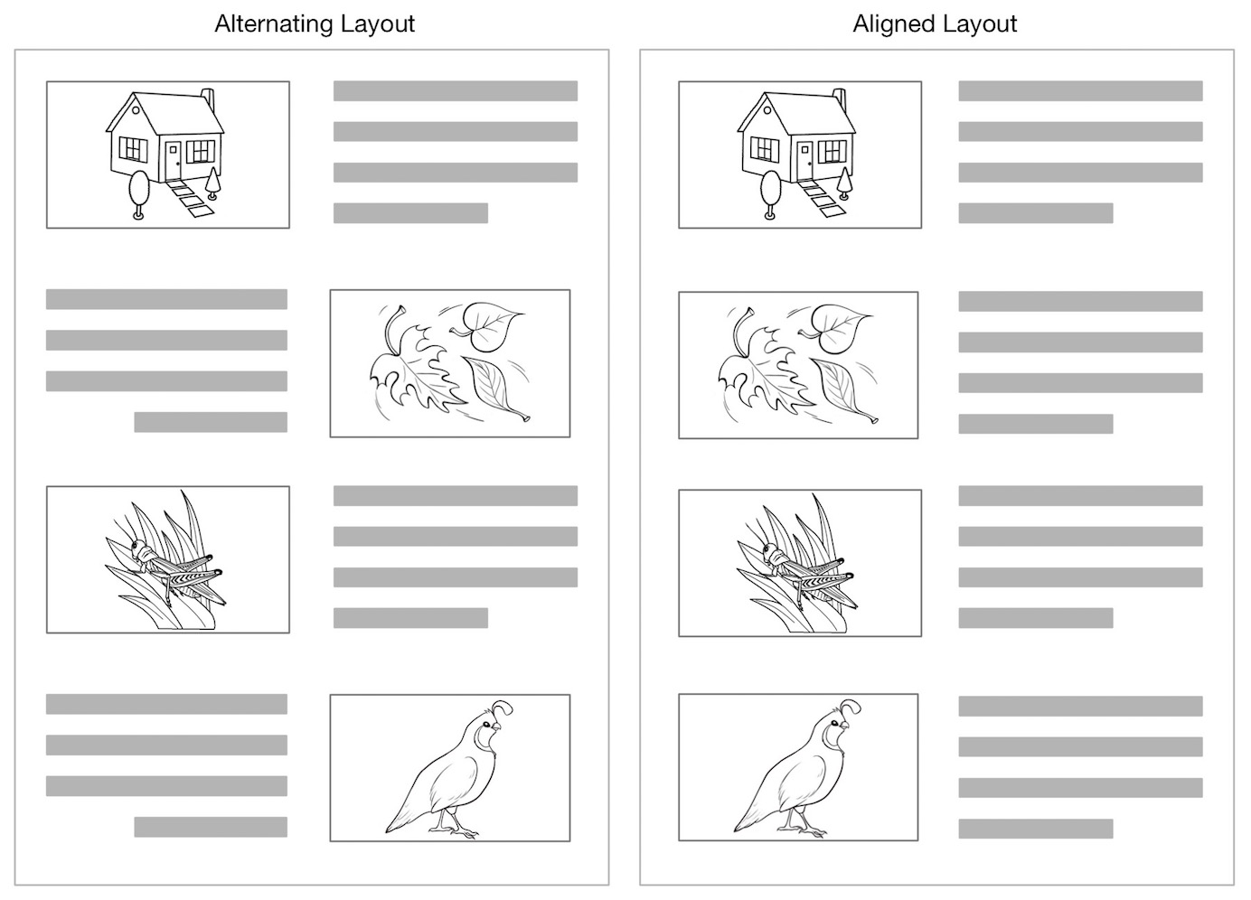 zigzag image text layouts make scanning less efficient