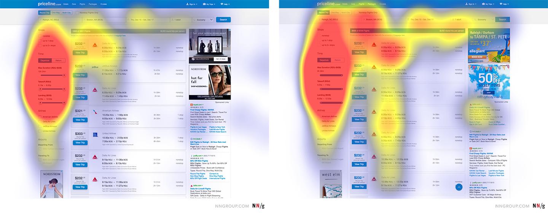 Priceline搜索结果的强烈能指版本,热量集中在左侧边栏上弱版本,热量分布在页面上的其他元素上