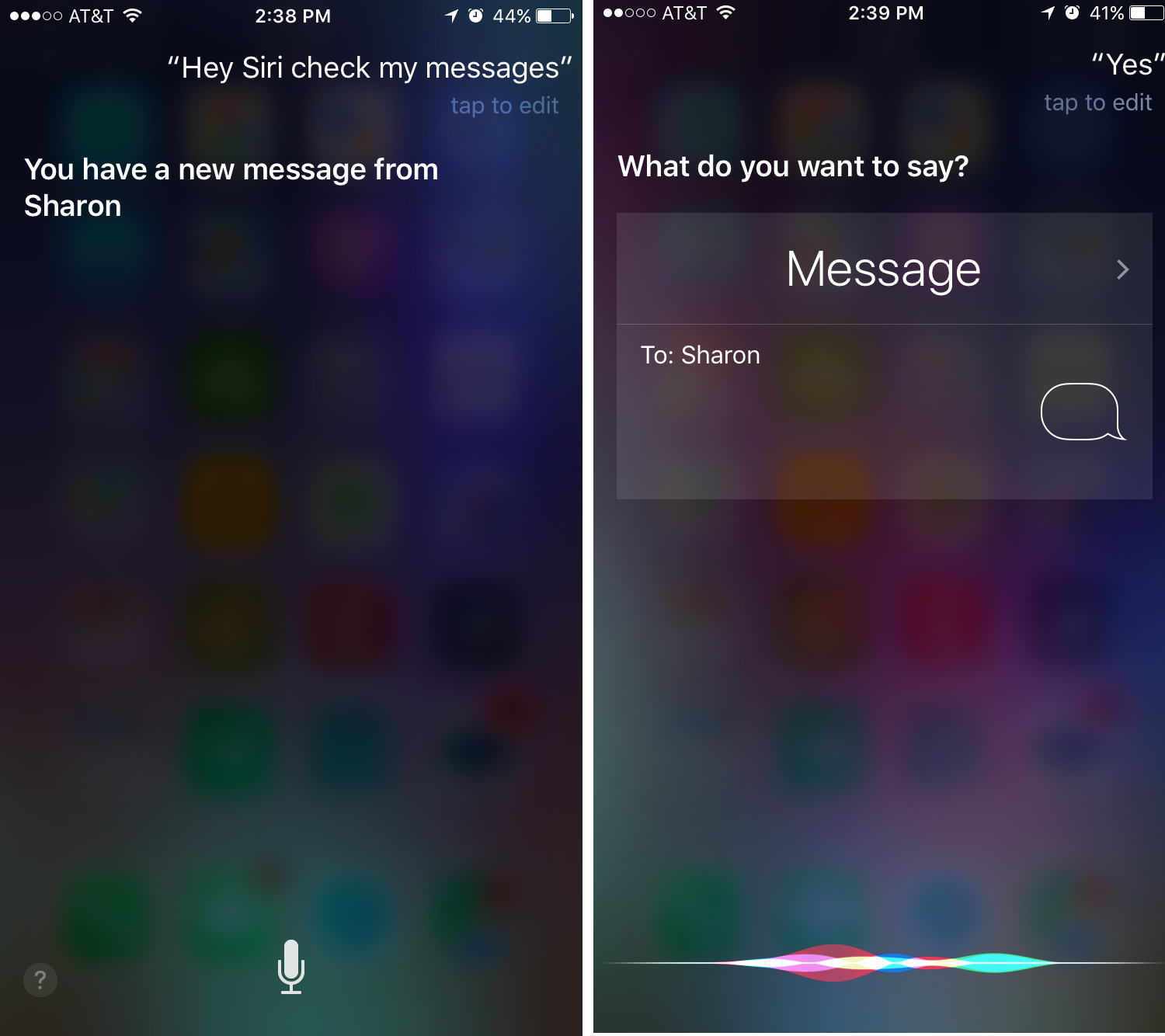 Examples of the screen display shown by Siri while messaging in voice mode