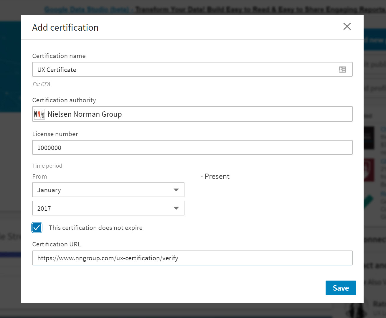 How to display your nng ux certification badge example of data fields to enter for certifications 1betcityfo Choice Image