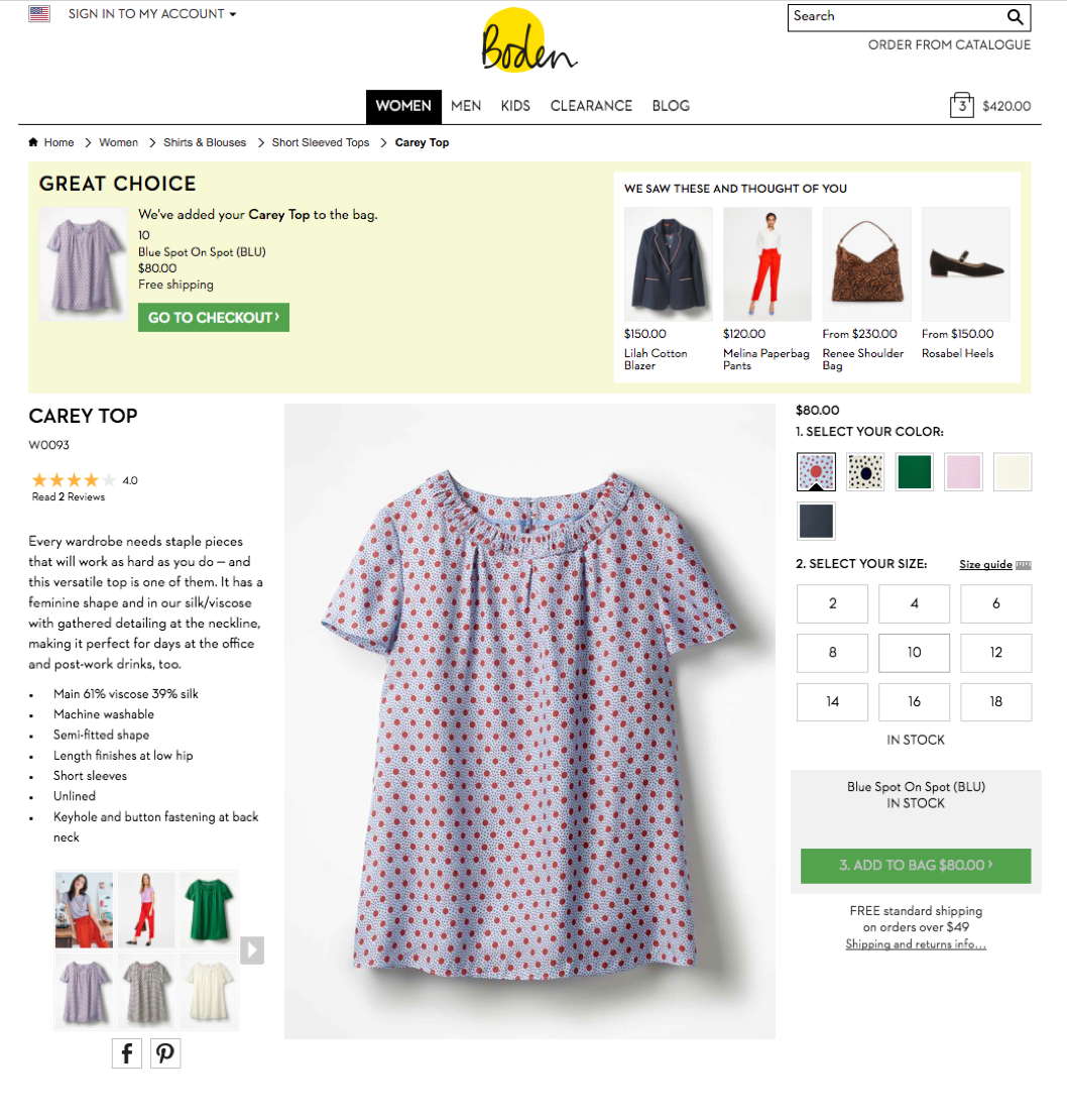 Boden shows a banner indicating items have been added to cart, but also includes cross-sell promotions