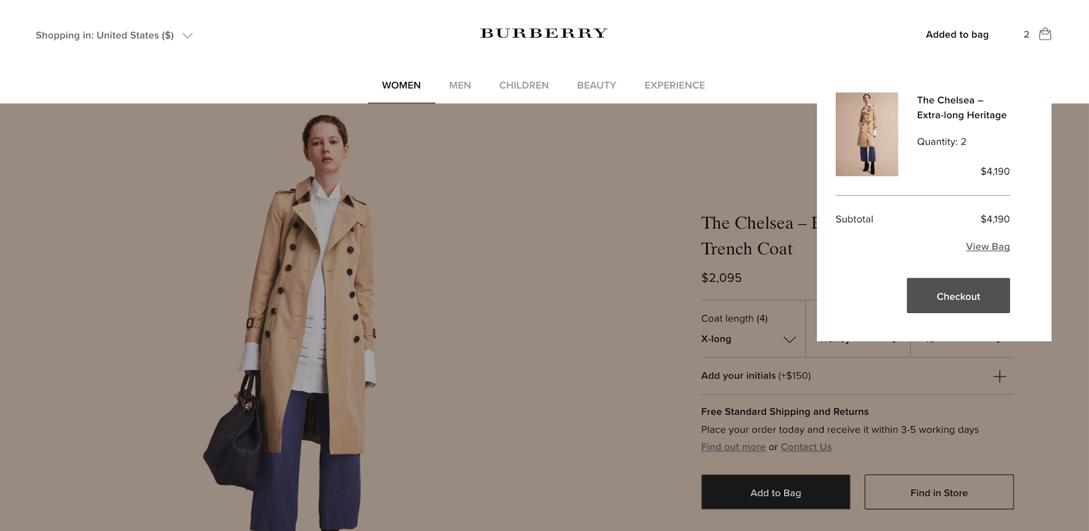 Burberry transient overlay for add to cart
