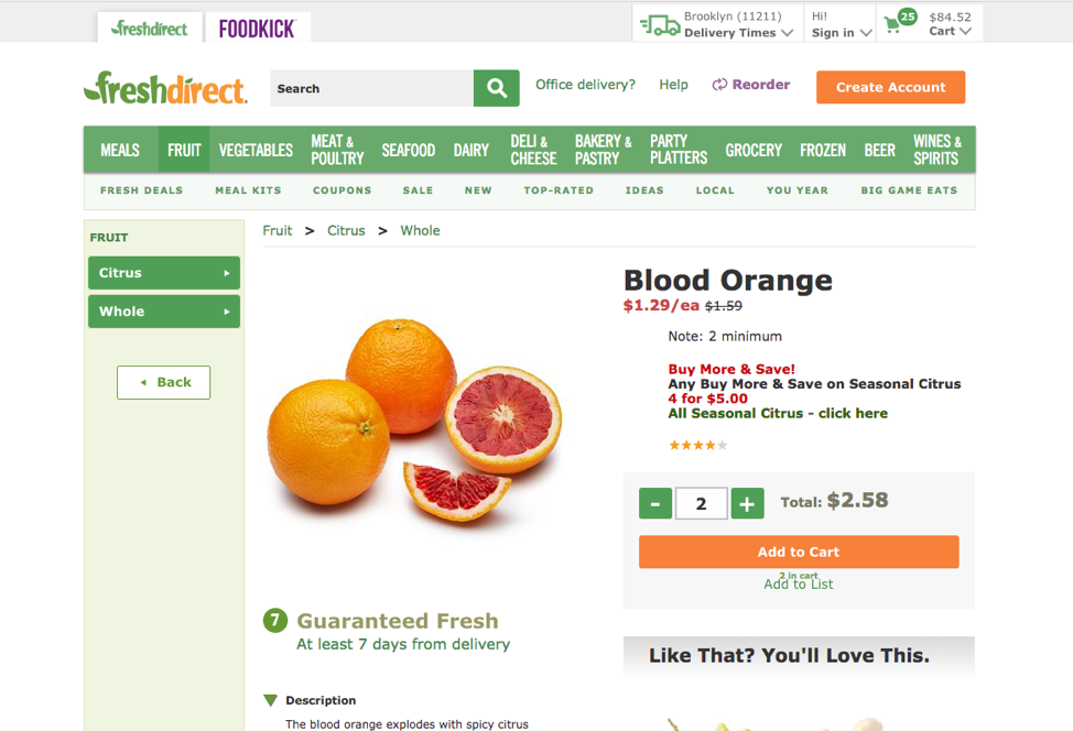 Freshdirect shows a small, easy-to-miss indicator that an item was already in the cart