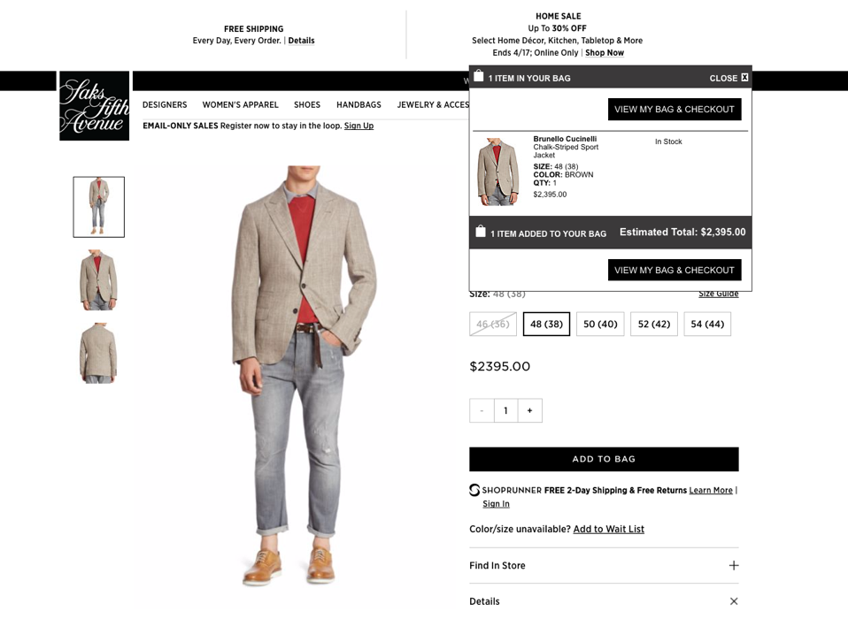 Saks Fifth Avenue non modal overlay showing feedback that an item was added to cart