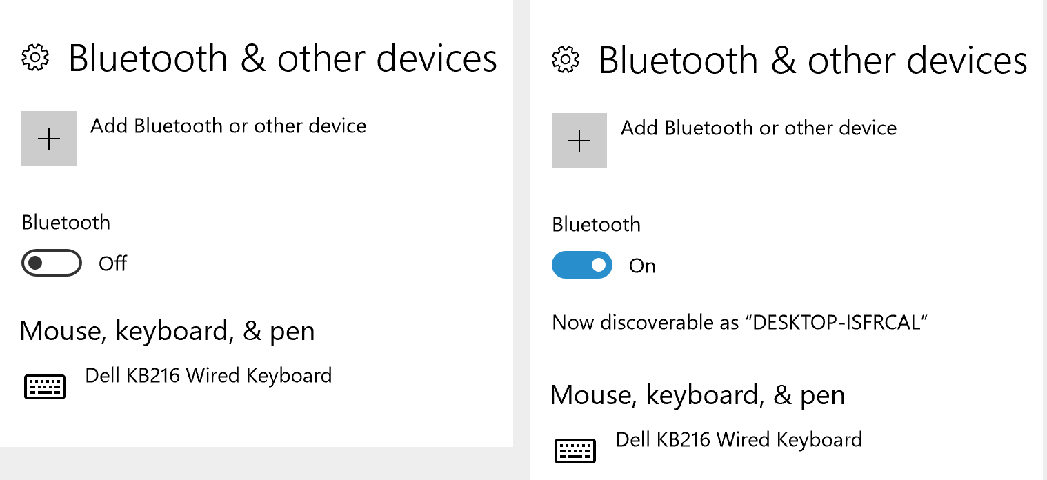 Screencapture of a Bluetooth switch in both the off and on positions