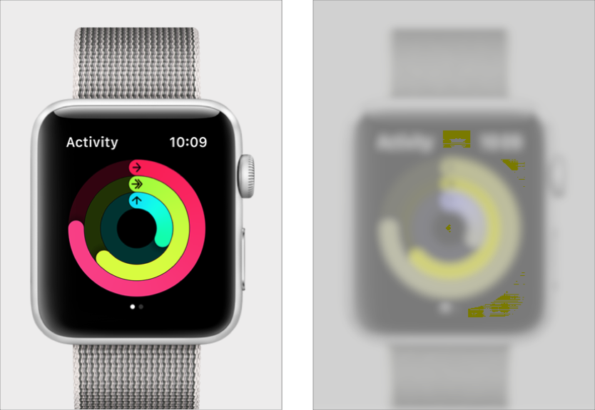 Apple watch before and after being run through a dog-vision simulator
