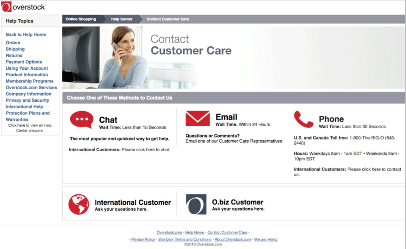 Overstock Customer Service Options