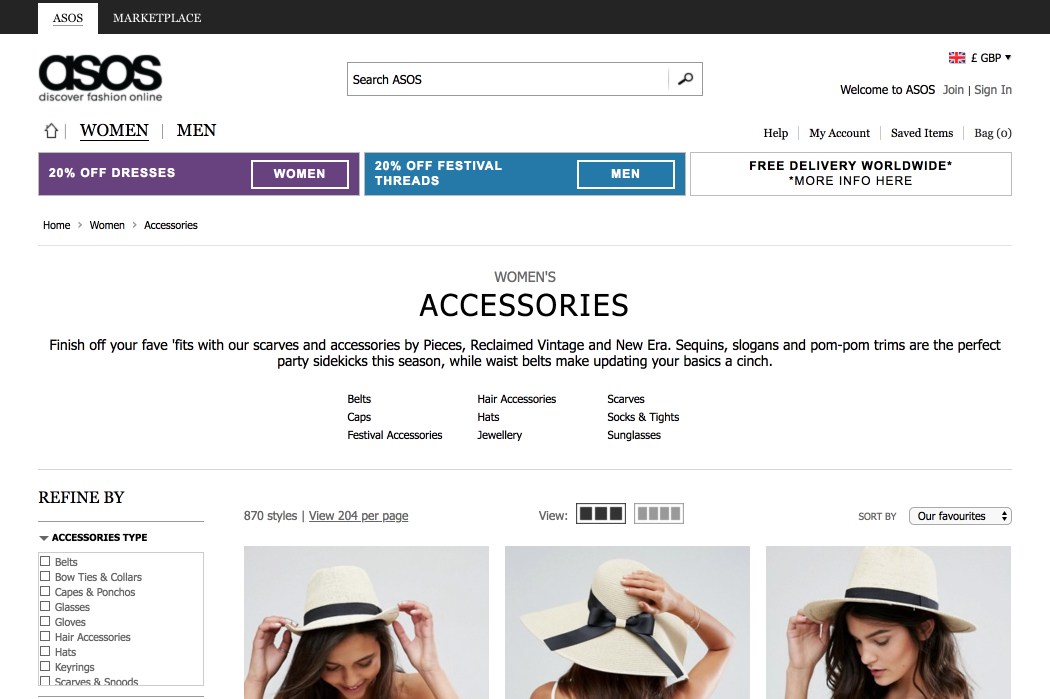 Screenshot of Asos category page