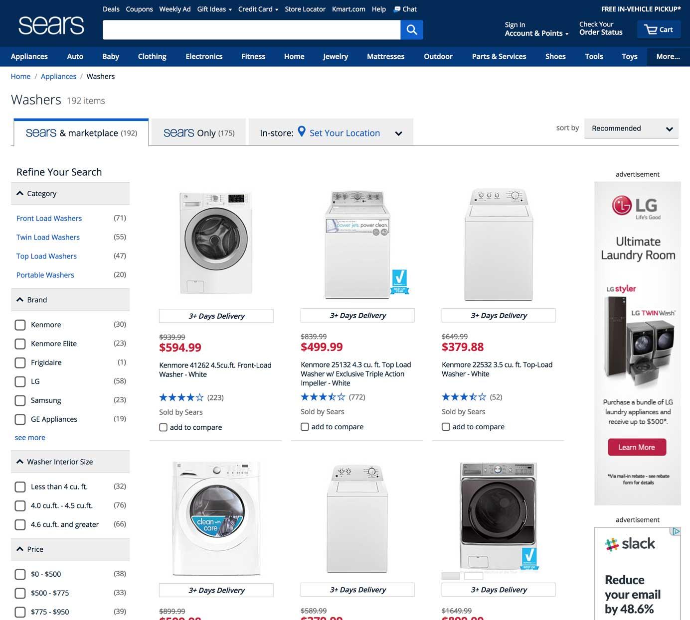 Sears产品列表页面的屏幕截图