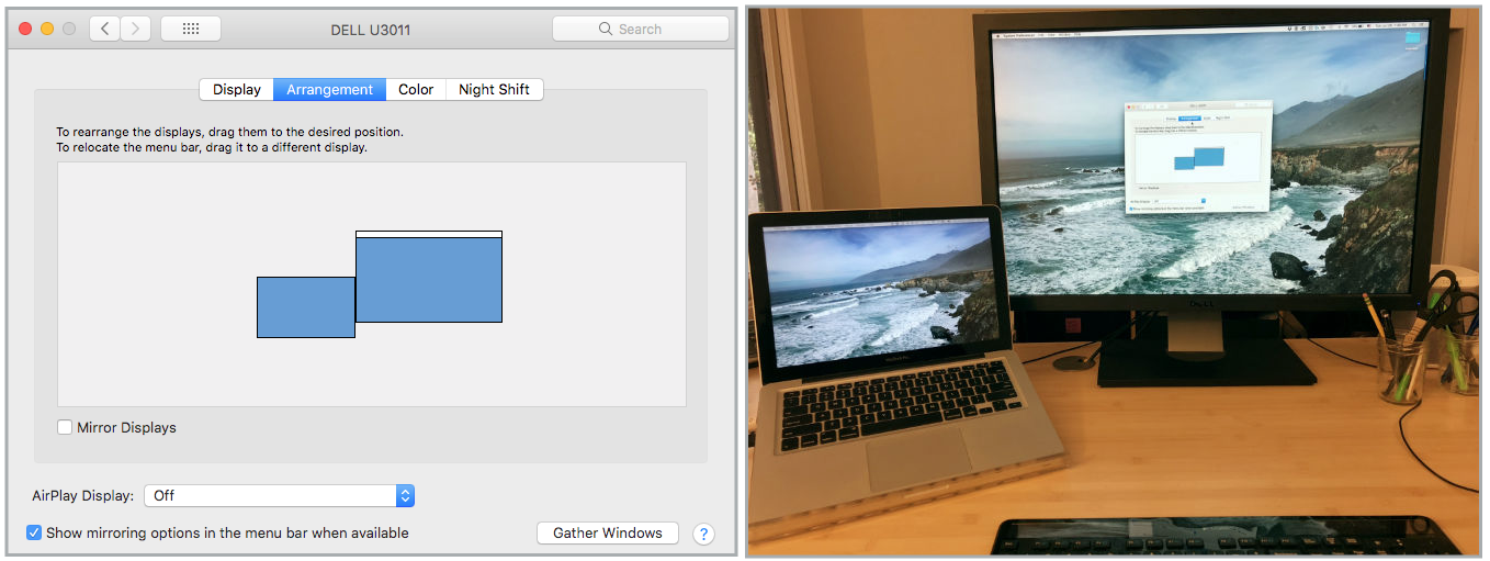 Screenshot of desktop monitor arrangement and photo of actual monitor arrangement