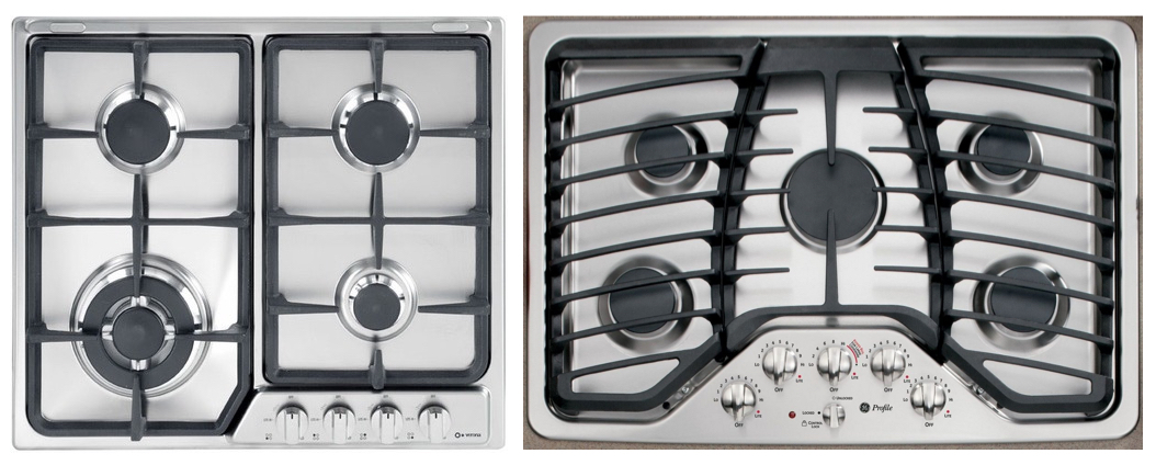 Four burner stove with unnatural mapping compared to five-burner stove with natural mappings to control knobs