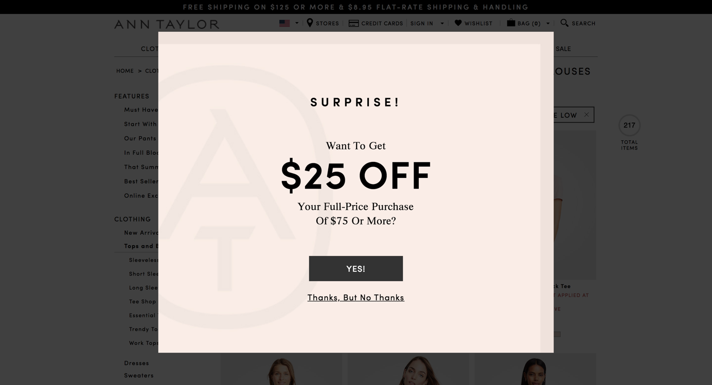 一个惊人的弹出窗口扰乱了安·泰勒网站上的购物体验。