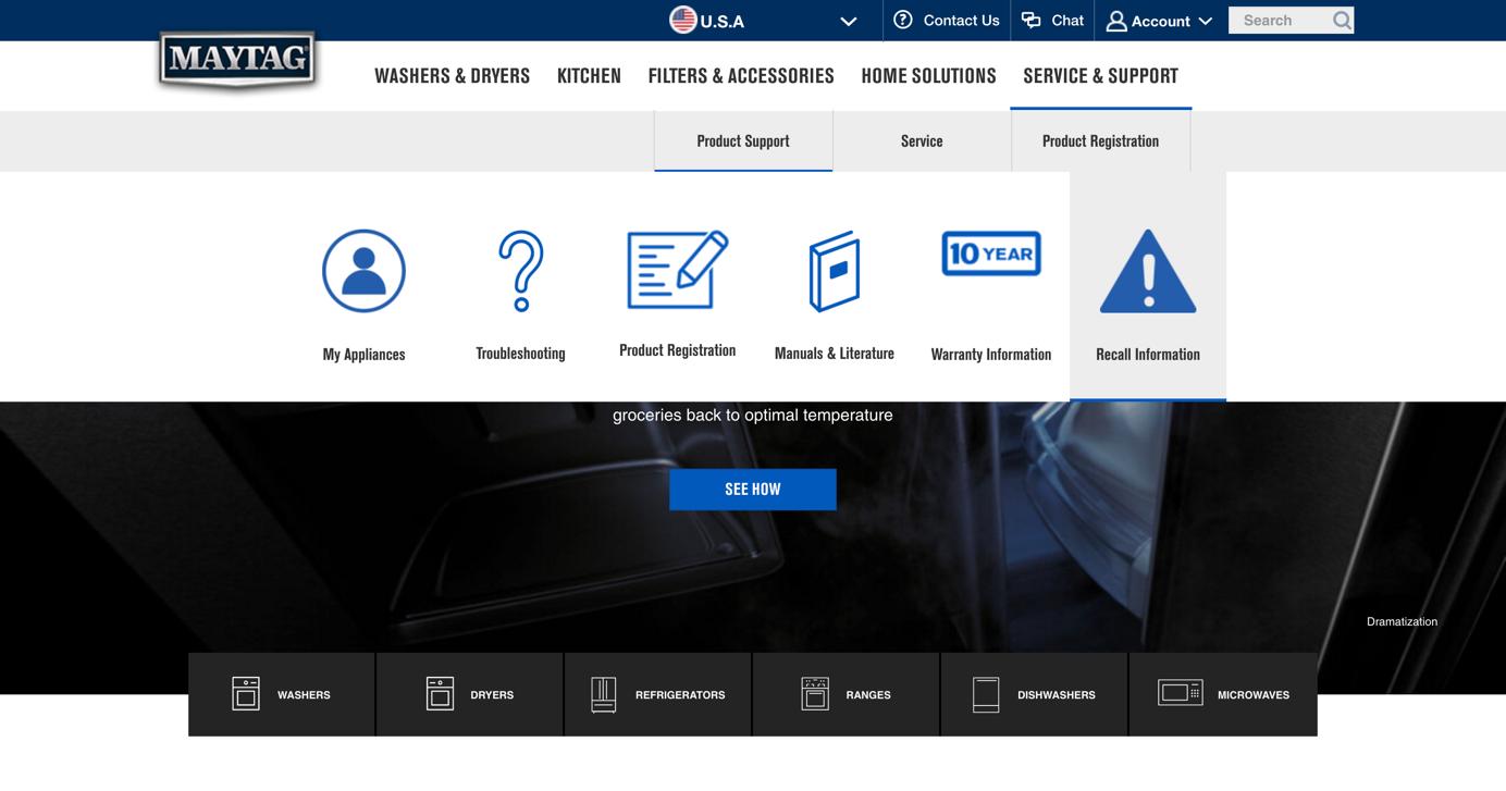 Maytag网站上的导航菜单让我们的测试会话中的用户感到沮丧。