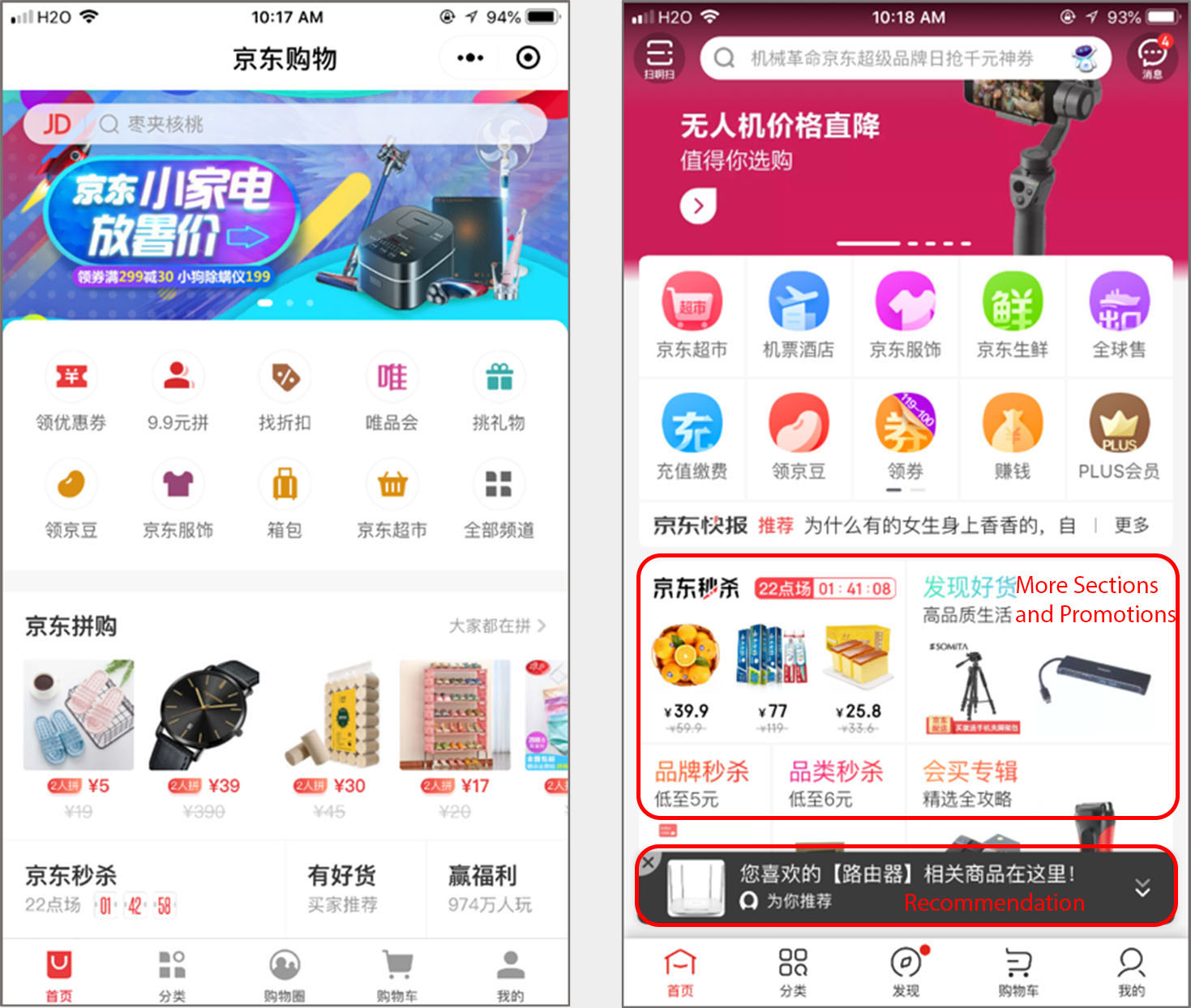 comparison of the JD shopping mini program (left) and JD's mobile app (right) showed that the mobile app had more content to browse through, including a carousel, promotions, and sections.