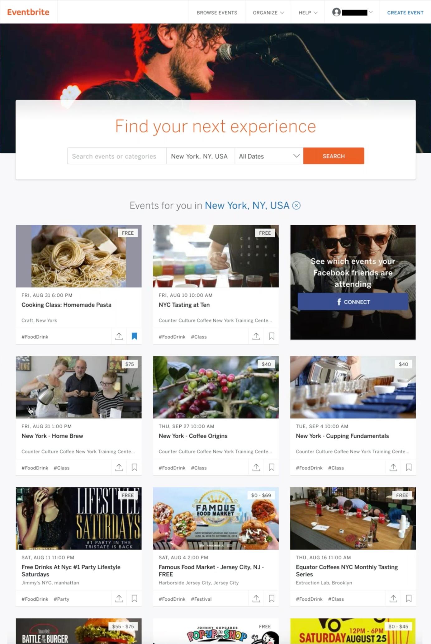 Screenshot of Eventbrite homepage