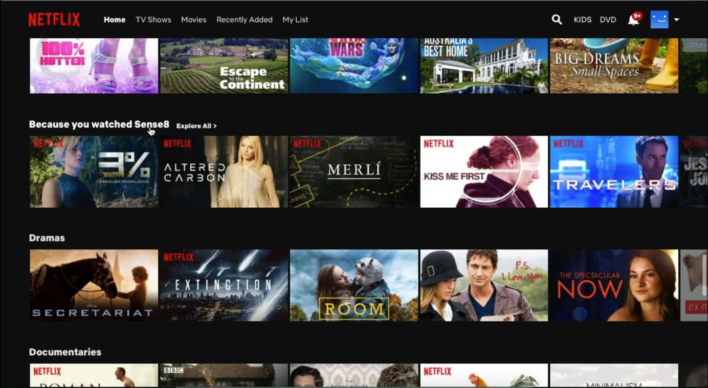 Screenshot of recommendations on Netflix
