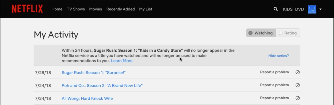 Screenshot of a user editing their viewing history on Netflix