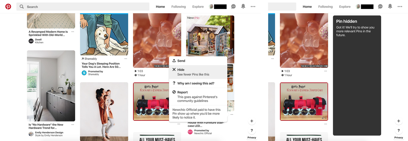 Screenshots of progression of hiding an ad on Pinterest.com