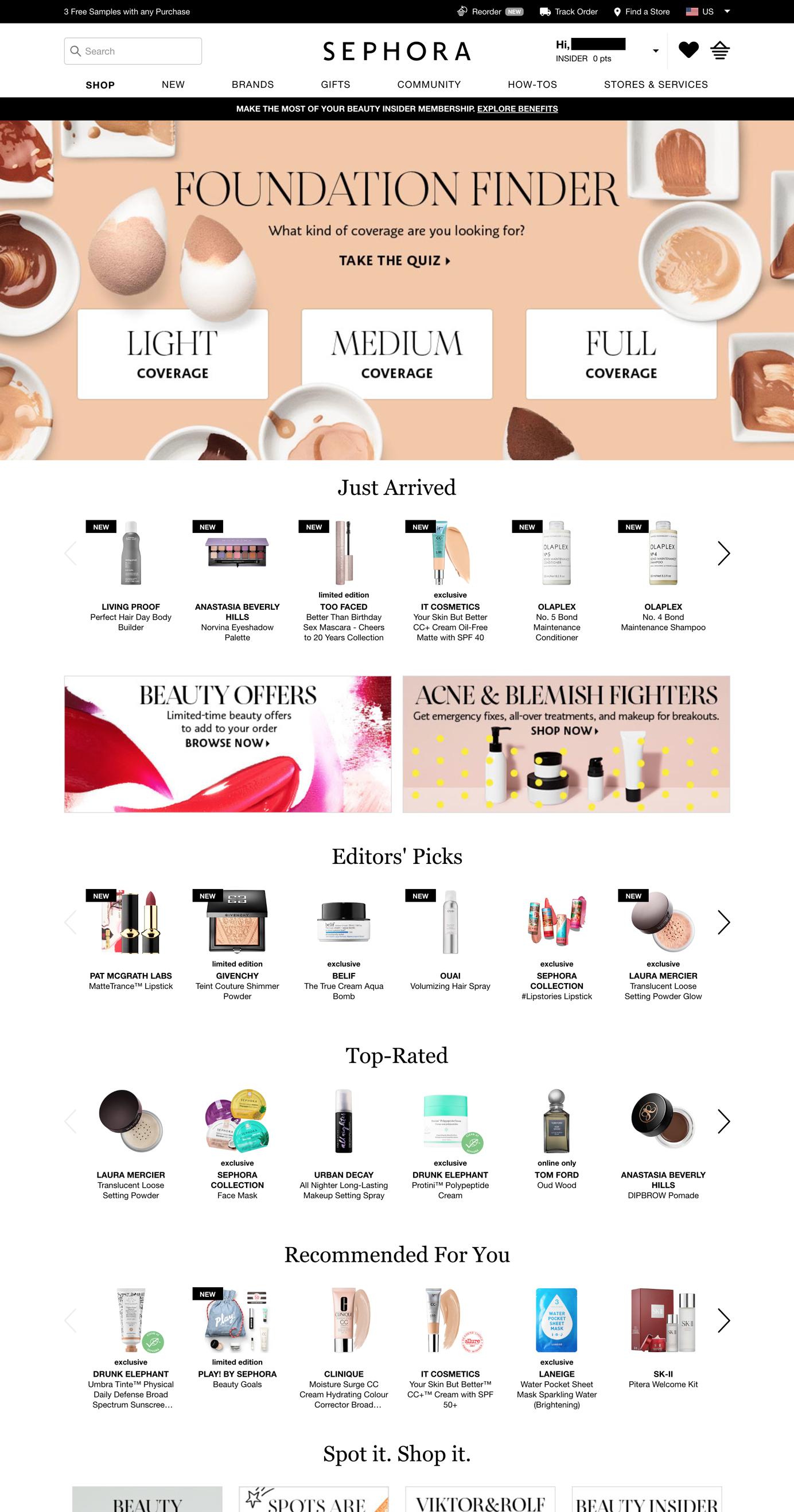 Screenshot of Sephora homepage