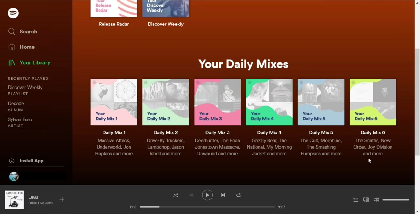 Screenshot of Spotify's Your Daily Mixes recommendations