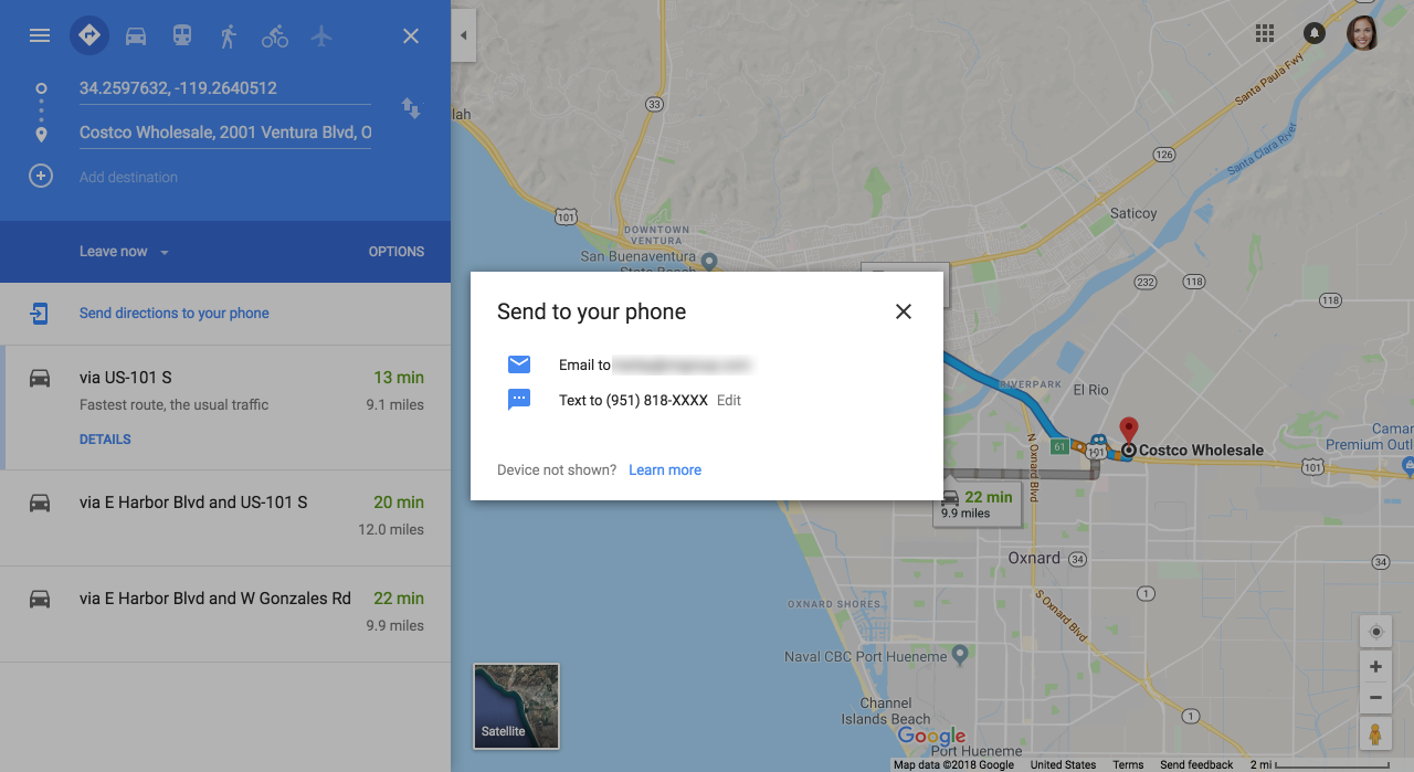 Example from Google Maps showing the feature to send to the user's phone