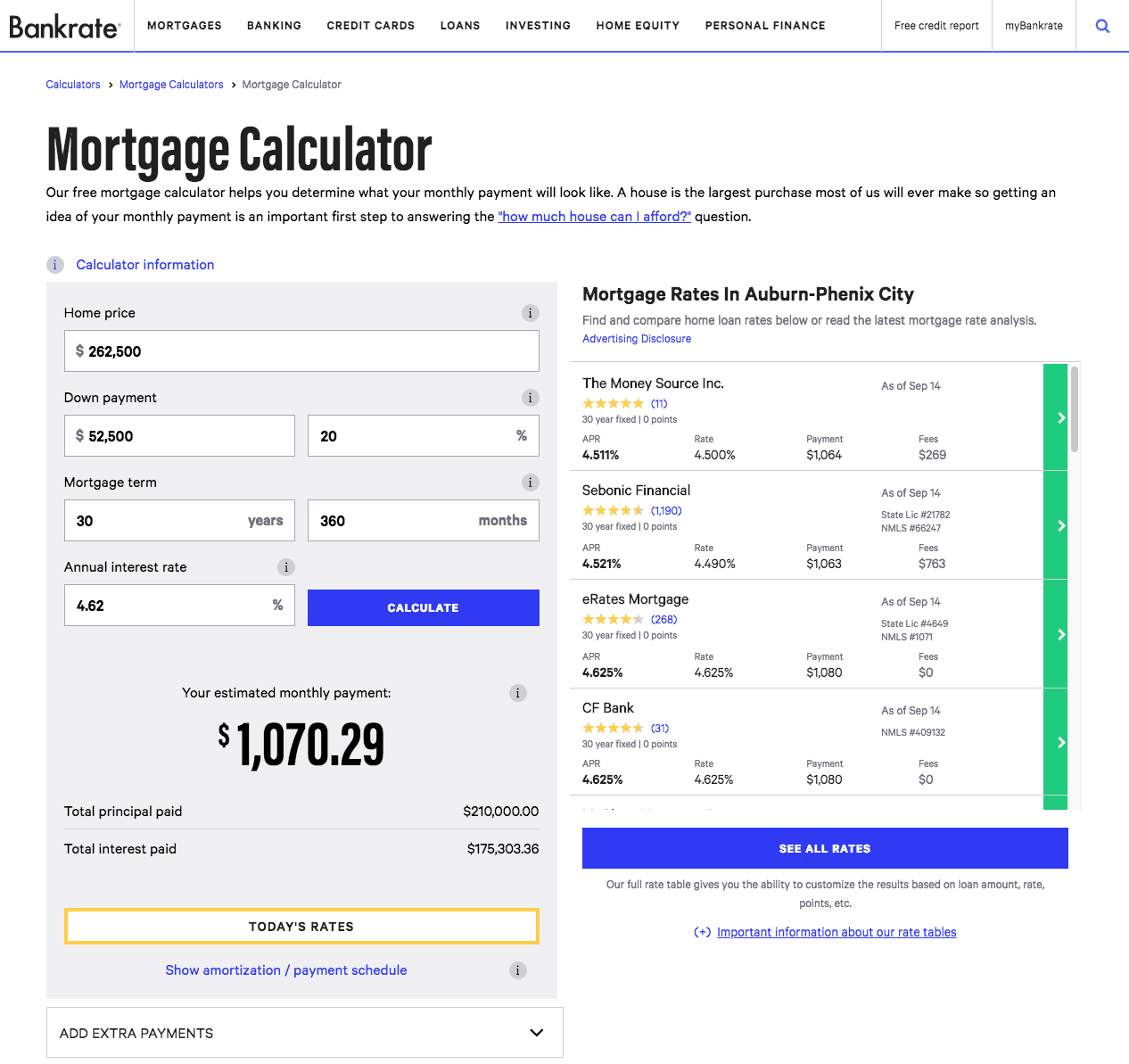 Bankrate.com screenshot of mortgage calculator showing helpful default values
