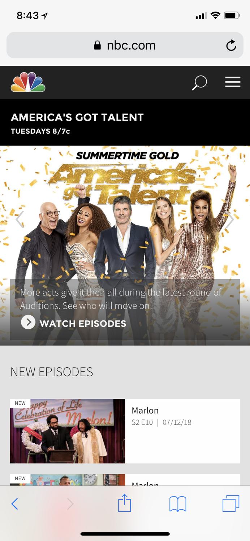 NBC的手机主页上白色背景图像和白色箭头