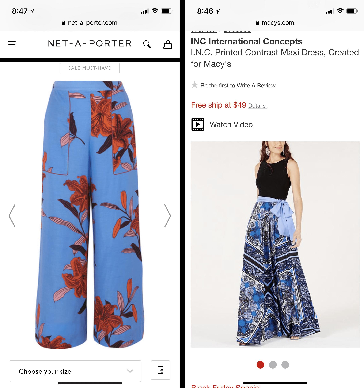 左:用箭头在裤子;右:穿着灰色背景上一些空白。。