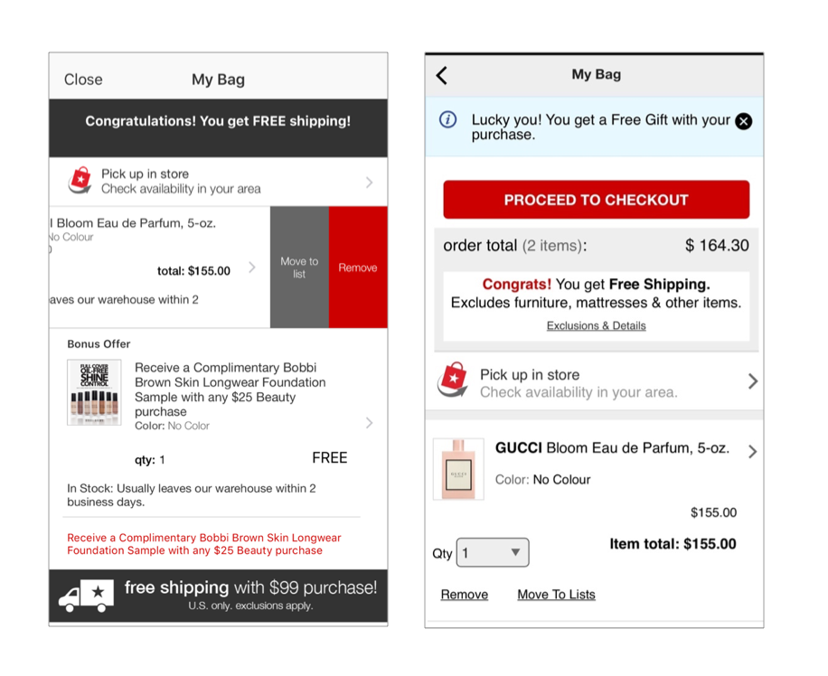 Macys native mobile cart differs from the mobile website