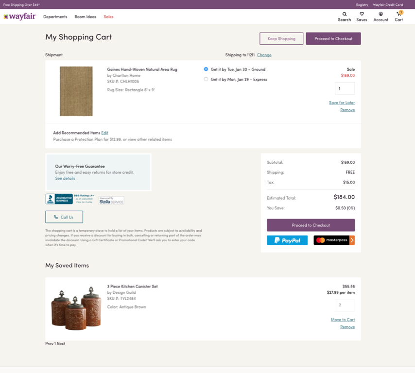 Wayfair moves saved cart items below the page fold